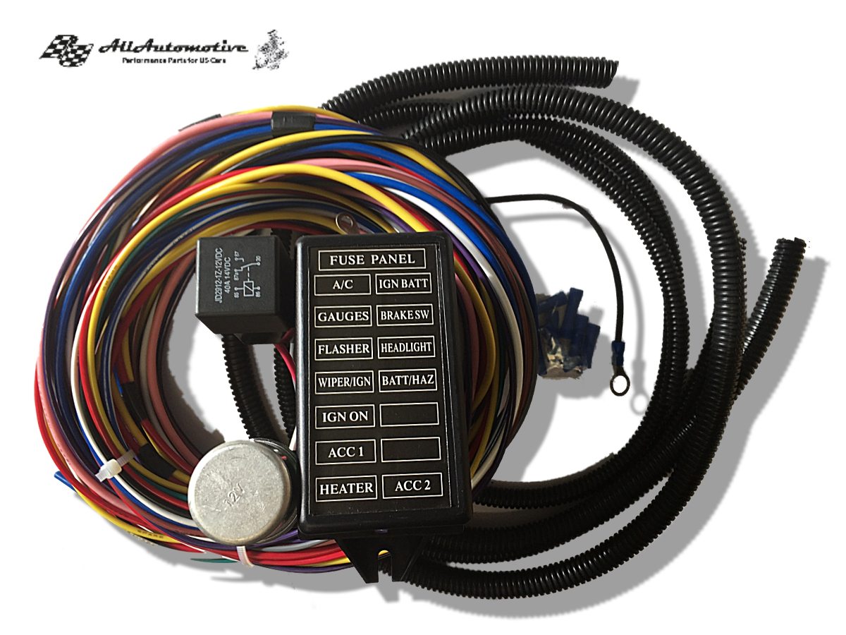 Kabelbaum 12 Wire universal US Car Ford Mopar Chevy V8